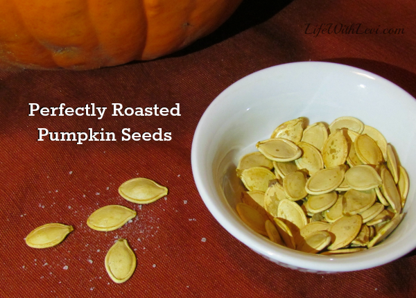 Perfectly roasted pumpkin seeds. Recipe at LifeWithLevi.com