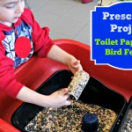 Easy preschool activity - make a bird feeder out of an old toilet paper roll.