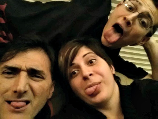 This is my dad making goofy faces with me and my brother. We're all a bit silly and I love it.