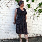 Peggy Dress from Karina Dresses paired with a chunky necklace, polka dot wedges, and sunglasses.